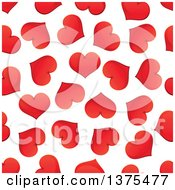 Seamless Background Pattern Of Red Hearts