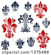 Clipart Of Navy Blue And Red Lily Fleur De Lis Designs Royalty Free Vector Illustration