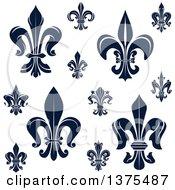 Clipart Of Navy Blue Lily Fleur De Lis Designs Royalty Free Vector Illustration