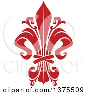 Clipart Of A Red Lily Fleur De Lis Royalty Free Vector Illustration
