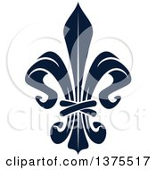 Clipart Of A Navy Blue Lily Fleur De Lis Royalty Free Vector Illustration