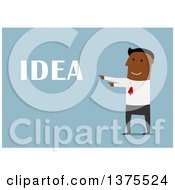 Clipart Of A Flat Design Black Business Man With An Idea On Blue Royalty Free Vector Illustration