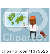 Clipart Of A Flat Design Black Business Man Ready For A Vacation On Blue Royalty Free Vector Illustration