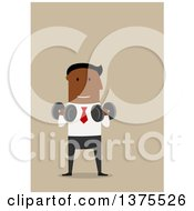 Clipart Of A Flat Design Black Business Man Working Out On Tan Royalty Free Vector Illustration