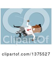 Clipart Of A Flat Design Black Business Man Falling Back In An Office Chair On Blue Royalty Free Vector Illustration