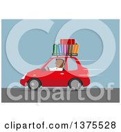 Flat Design Black Business Man Driving A Car With Luggage On Top On A Blue Background