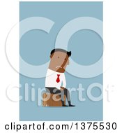 Clipart Of A Flat Design Black Business Man Looking Sad And Sitting On Luggage On Blue Royalty Free Vector Illustration