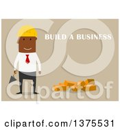 Clipart Of A Flat Design Black Business Man Ready To Build A Company On Tan Royalty Free Vector Illustration