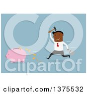 Clipart Of A Flat Design Black Business Man Chasing A Piggy Bank With A Hammer On Blue Royalty Free Vector Illustration