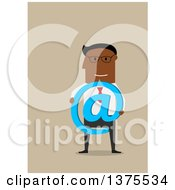 Clipart Of A Flat Design Black Business Man Holding An Email Arobase At Symbol On Tan Royalty Free Vector Illustration by Vector Tradition SM