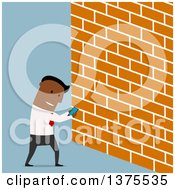 Flat Design Distracted Black Business Man Looking At A Smart Phone And About To Walk Into A Wall On Blue