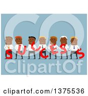 Clipart Of A Flat Design Black Business Team Holding Success Letters On Blue Royalty Free Vector Illustration