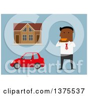 Clipart Of A Flat Design Black Business Man Holding A Credit Car By A House And Car On Blue Royalty Free Vector Illustration by Vector Tradition SM