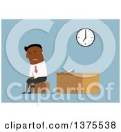 Clipart Of A Flat Design Black Business Man Looking Sad And Sitting On Luggage In An Office On Blue Royalty Free Vector Illustration