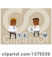 Clipart Of Flat Design Black Business Men Assembling Team Blocks On Blue Royalty Free Vector Illustration by Vector Tradition SM