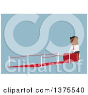 Clipart Of A Flat Design Black Business Man Rolling Out A Red Carpet On Blue Royalty Free Vector Illustration