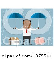 Clipart Of A Flat Design Black Business Man Holding Umbrellas Over A Piggy Bank And House On Blue Royalty Free Vector Illustration