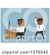 Clipart Of A Flat Design Black Business Man Ready To Stab Another In The Back On Blue Royalty Free Vector Illustration by Vector Tradition SM