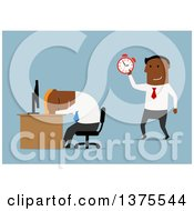 Clipart Of A Flat Design Black Business Man Sleeping At His Desk His Boss Holding Up A Clock On Blue Royalty Free Vector Illustration