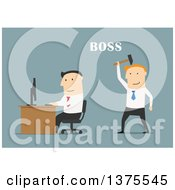 Clipart Of A Flat Design White Business Man Boss Sneaking Up On An Employee With A Hammer On Blue Royalty Free Vector Illustration by Vector Tradition SM