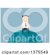 Clipart Of A Flat Design White Business Man Sitting On Top Of The World On Blue Royalty Free Vector Illustration