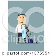 Clipart Of A Flat Design White Man Dressed Half In A Suit Half As A Janitor On Blue Royalty Free Vector Illustration by Vector Tradition SM