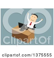 Flat Design White Business Man Cheering At His Computer On Blue