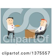 Clipart Of A Flat Design White Business Man Sucking Up To The Boss On Blue Royalty Free Vector Illustration by Vector Tradition SM