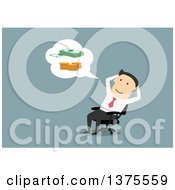 Clipart Of A Flat Design White Business Man Sitting In A Chair And Thinking About Money On Blue Royalty Free Vector Illustration