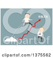 Clipart Of A Flat Design White Business Man Leaping Over A Bad Salesman On Blue Royalty Free Vector Illustration by Vector Tradition SM