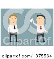 Clipart Of A Flat Design White Business Man And Angry Colleague On Blue Royalty Free Vector Illustration by Vector Tradition SM