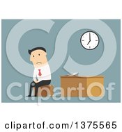 Clipart Of A Flat Design White Business Man After Being Fired On Blue Royalty Free Vector Illustration