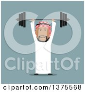 Clipart Of A Flat Design Arabian Business Man Lifting A Barbell On Blue Royalty Free Vector Illustration