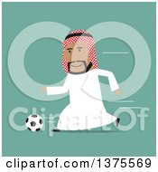 Flat Design Arabian Business Man Playing Soccer On Green