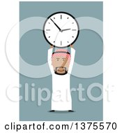 Clipart Of A Flat Design Arabian Business Man Holding Up A Clock On Blue Royalty Free Vector Illustration