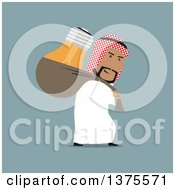 Clipart Of A Flat Design Arabian Business Man Stealing An Idea Light Bulb On Blue Royalty Free Vector Illustration