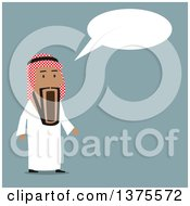Clipart Of A Flat Design Arabian Businessman Gawking In Surprise Over Blue Royalty Free Vector Illustration