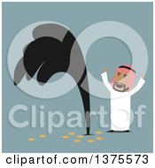 Clipart Of A Flat Design Arabian Business Man Discovering Oil On Blue Royalty Free Vector Illustration