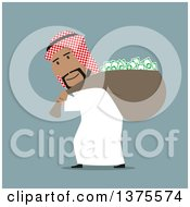 Clipart Of A Flat Design Arabian Business Man Stealing Cash Money On Blue Royalty Free Vector Illustration