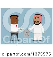 Clipart Of A Flat Design Black Business Man Purchasing Oil From An Arabian Man On Blue Royalty Free Vector Illustration