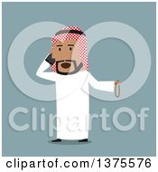 Flat Design Arabian Business Man Talking On A Cell Phone On Blue