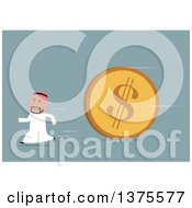 Clipart Of A Flat Design Arabian Business Man Running From A Giant Coin On Blue Royalty Free Vector Illustration by Vector Tradition SM