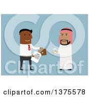 Clipart Of Flat Design Black And Arabian Business Men Entering A Business Deal On Blue Royalty Free Vector Illustration