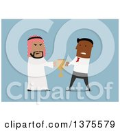 Clipart Of Flat Design Arabian And Black Business Men Fighting Over A Trophy On Blue Royalty Free Vector Illustration