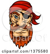 Clipart Of A Tough Red Haired White Male Pirate With An Eye Patch Beard And Mustache Royalty Free Vector Illustration