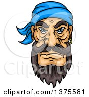 Clipart Of A Tough Brunette White Male Pirate With A Beard And Mustache Royalty Free Vector Illustration