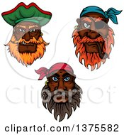 Clipart Of Tough Black Male Pirates With Beards Royalty Free Vector Illustration by Vector Tradition SM