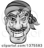 Clipart Of A Grinning Grayscale Male Pirate Face Royalty Free Vector Illustration
