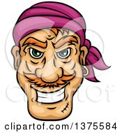 Clipart Of A Grinning White Male Pirate Face Royalty Free Vector Illustration