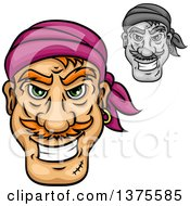 Clipart Of Grinning Male Pirate Faces Royalty Free Vector Illustration